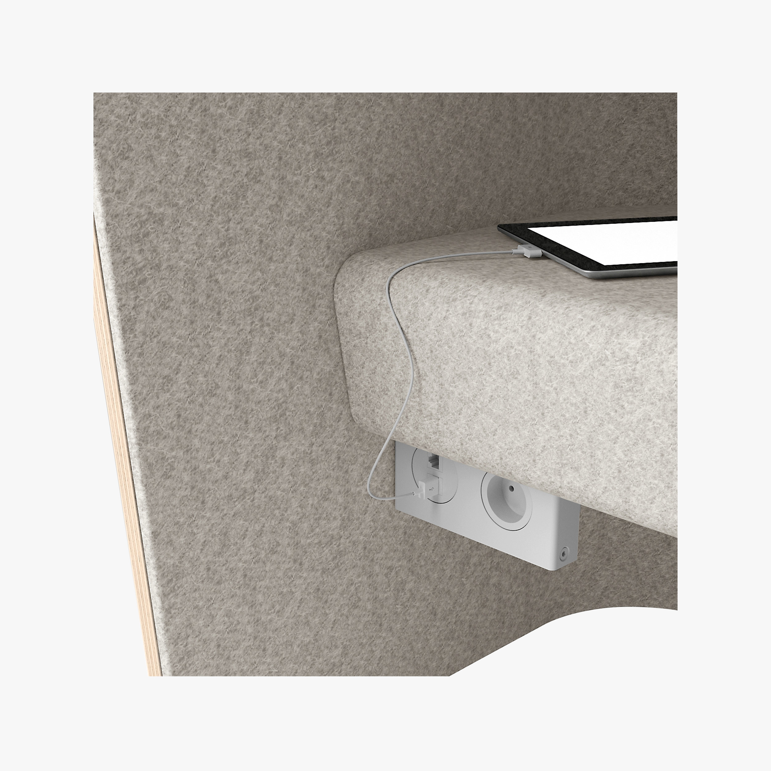 Sinetica We Meet Individual Cubicle With Fabric Interior Showing Power Socket