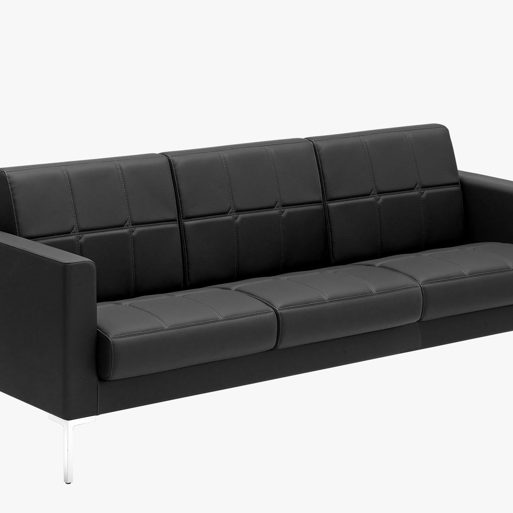 Canape 3 seater seat and back upholstery with square stiching