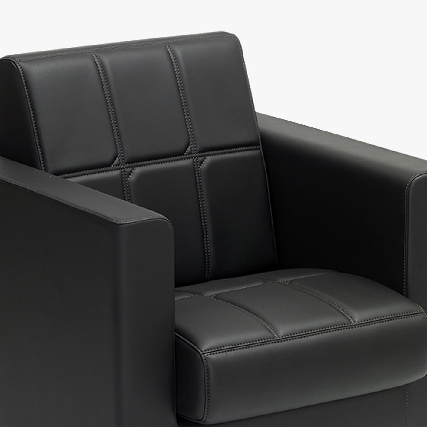Canape seat and back upholstery with square stiching